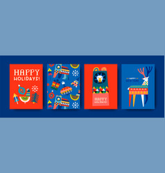 happy holiday cute winter folk animal card set vector image