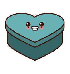 heart shape box cute kawaii cartoon vector image