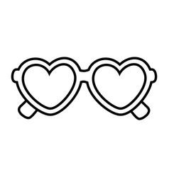 heart shape sunglasses black and white vector image