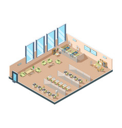 Isometric office big corporate open working area vector