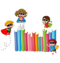 kids in hero costume and many books vector image