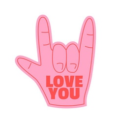 Love you foam hand happy valentines day vector