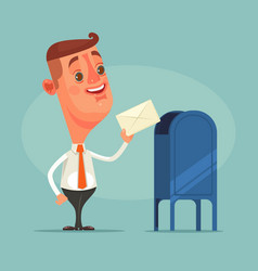man office worker character got envelope message vector image