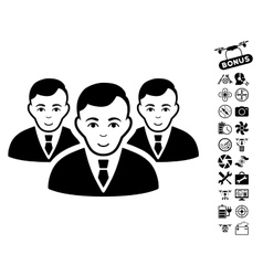 Manager Group Icon With Copter Tools Bonus vector