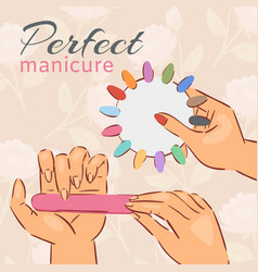 Manicure nail polish poster with choice vector