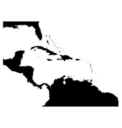Map caribbean region and central america black vector