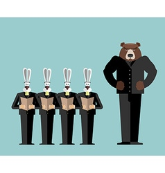 Meeting Office Bear big boss scolds rabbits Hares vector image vector image