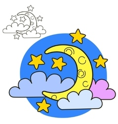 Moon with stars and clouds Coloring book page vector image