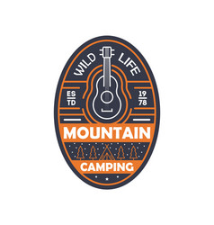 Mountain camping vintage isolated badge vector
