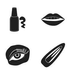Nail polish tinted eyelashes lips with lipstick vector
