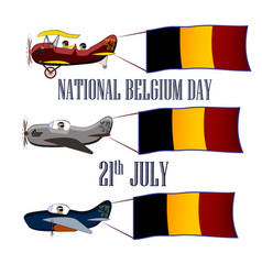 nayional day of belgium set with three planes and vector image