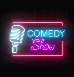 Neon comedy show sign with retro microphone on a vector