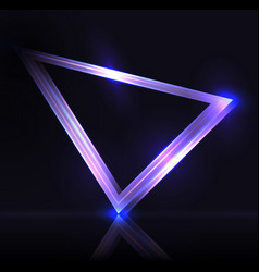 neon triangle with highlights neon frame vector image