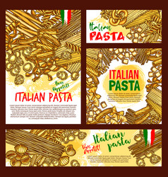 pasta sketch posters for italian restaurant vector image