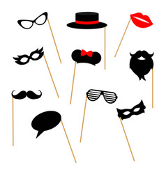 Photo booth props collection for party isolated vector