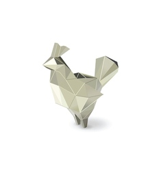 Polygonal silver rooster figure low poly animal vector