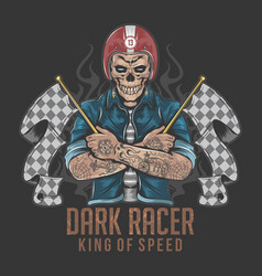 Racer skull rider with tattoo artwork vector