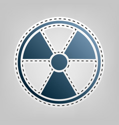 radiation round sign blue icon with vector image