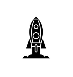 rocket launch black icon sign on isolated vector image
