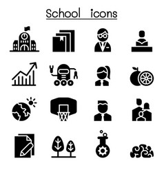 school university high school education icon set vector image