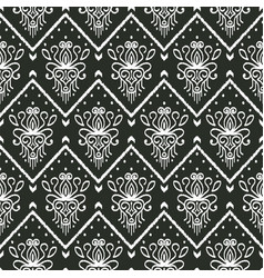 seamless black and white pattern with embroidery vector image
