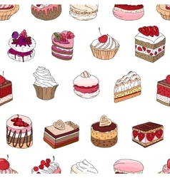 Seamless pattern wit different kinds of dessert vector image