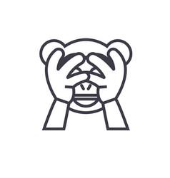 See no evil emoji concept line editable vector