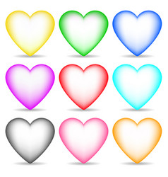 set colored 3d hearts isolated on white vector image