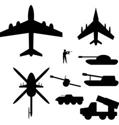 Set drawings of military equipment for Infographic vector