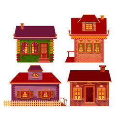 set homes made brick or wooden material vector image