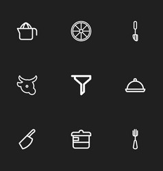 set of 9 editable cooking icons line style vector image