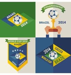 Set of flat design Brazilian soccer labels vector