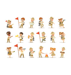 Set of girls and boys in scout costumes vector