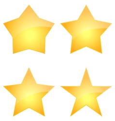 Set Of Gold Glossy Stars Icon Design vector