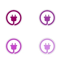 Set of paper stickers on white background power vector