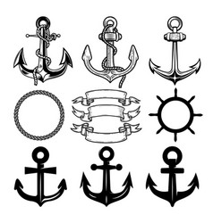 Set of the anchors label and logos design template vector
