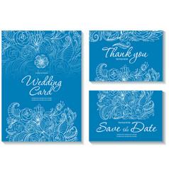 set templates for wedding invitation vector image