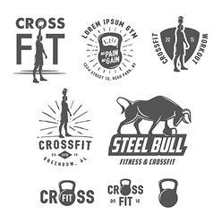 Set vintage fitness emblems and design elements vector