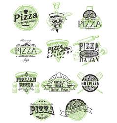 Set vintage pizza badges labels logos vector