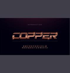 sport modern italic alphabet copper font vector image