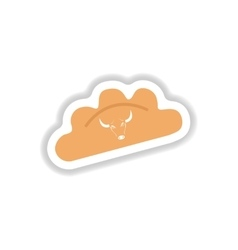 Stylish paper sticker on white dumplings with veal vector