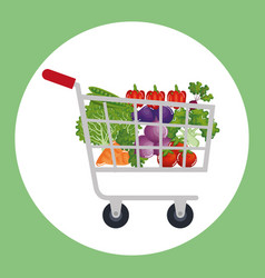 supermarket shopping cart with groceries vector image