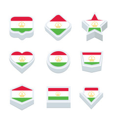 Tajikistan flags icons and button set nine styles vector