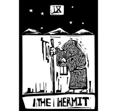 Tarot Card Hermit vector