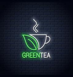 tea green cup neon sign concept design vector image