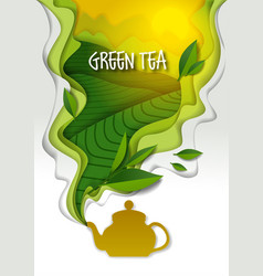 Teapot with aromatic green tea paper art vector