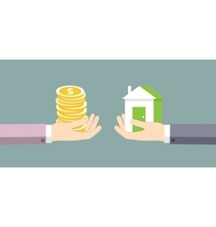 The exchange of house on the money vector image