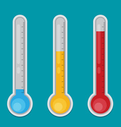 thermometer flat icon set vector image