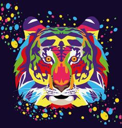 Tiger wild life technicolor in black background vector