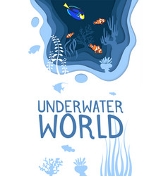 underwater world design with coral reef fishes vector image